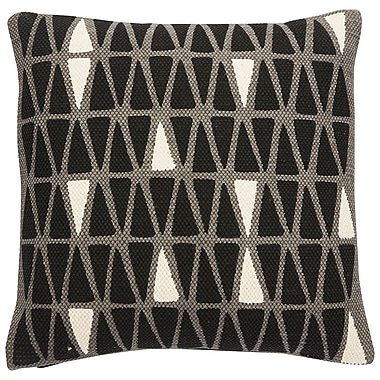 Brayden Studio Eicher Cotton Throw Pillow; Steel Gray/Caviar