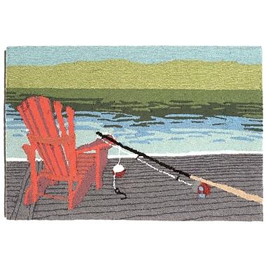 Loon Peak Folsom Lakeside Blue Indoor/Outdoor Area Rug; 2'6'' x 4'