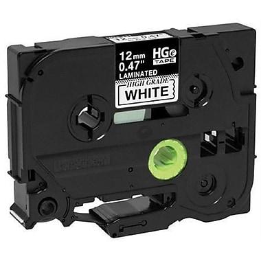 Brother – Ruban HGe 12 mm noir sur blanc avec adhésif standard, 8 m, paq./5 HGE2315PK