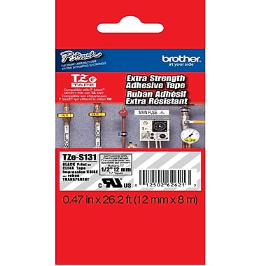 Brother 12mm Black on Clear Tape with Extra Strength Adhesive 8m, TZeS131