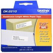 Brother – Ruban d'étiquetage en papier à longueur continue, noir sur blanc, 1,1 po x 100 pi (29 mm x 30,4 m), DK2210