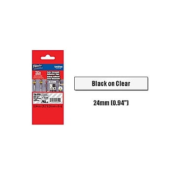Brother 24mm Black on Clear Tape with Extra Strength Adhesive 8m, TZeS151