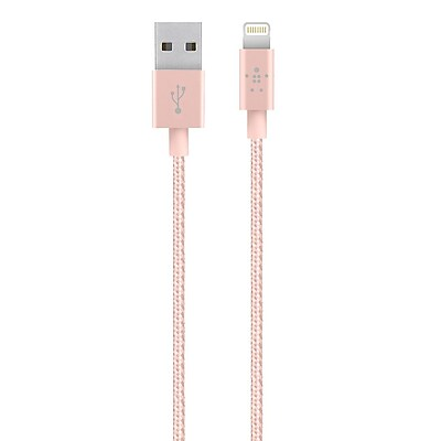 Belkin 4ft Premium Lightning USB Data Transfer Cable, Rosegold (F8J144BT04-C00)