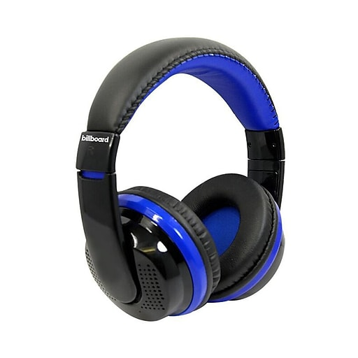 Billboard Bluetooth Wireless Folding Headphones With Enhanced Bass,  Controls, and Microphone - Blue