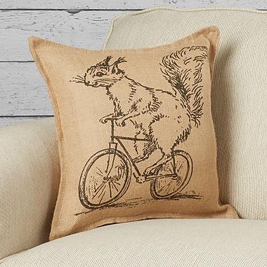 Loon Peak Kootenai Squirrel on Bicycle Burlap Throw Pillow