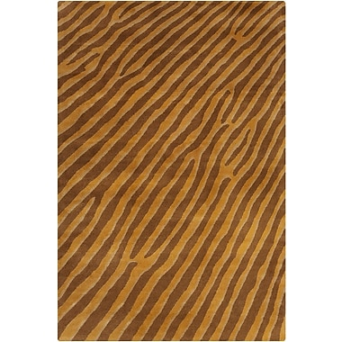 Loon Peak Chatou Hand Tufted Wool Gold/Brown Area Rug; 5' x 7'6''