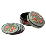 Novica Kashmir Floral 7 Piece Coaster Set
