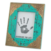 Novica Majestic Turquoise Wood Picture Frame