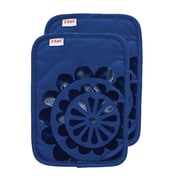 T-fal Medallion Cotton Silicone Potholder (Set of 2); Blue