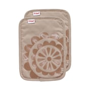 T-fal Medallion Cotton Silicone Potholder (Set of 2); Sand