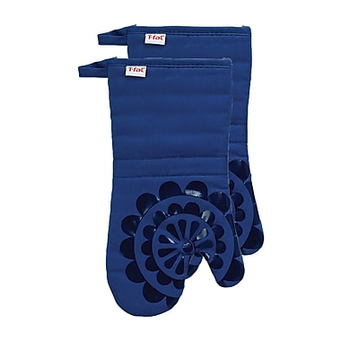 T-fal Medallion Cotton Silicone Oven Mitt (Set of 2); Blue