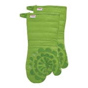 T-fal Medallion Cotton Silicone Oven Mitt (Set of 2); Green