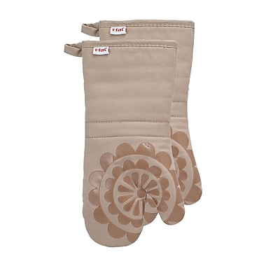 T-fal Medallion Cotton Silicone Oven Mitt (Set of 2); Sand