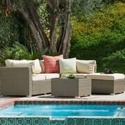 W Unlimited Jicaro Garden 5 Piece Wicker Deep Seating Group w/ Cushions