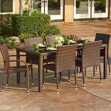 W Unlimited 7 Piece Outdoor Wicker Dining Set (Set of 10)