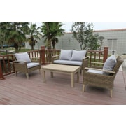 W Unlimited Bari 4 Piece Outdoor Wicker Sofa Seating Group w/ Cushions (Set of 10)