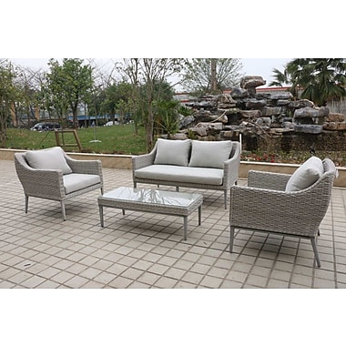W Unlimited Monti 4 Piece Outdoor Wicker Sofa Seating Group w/ Cushions