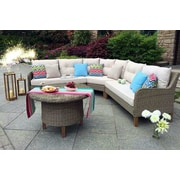 W Unlimited Sorrento Garden 4 Piece Wicker Sectional Seating Group w/ Cushions