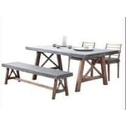 W Unlimited Amalfi 4 Piece Outdoor Wood Bench Dining Set