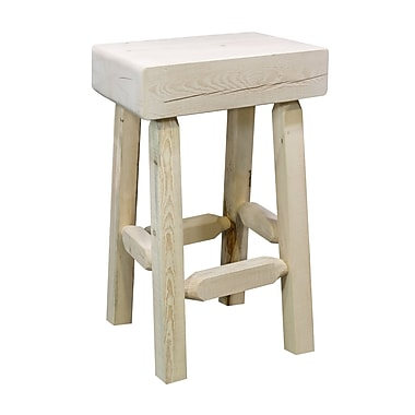 Loon Peak Abella 24'' Square Bar Stool; Clear Lacquer Finish
