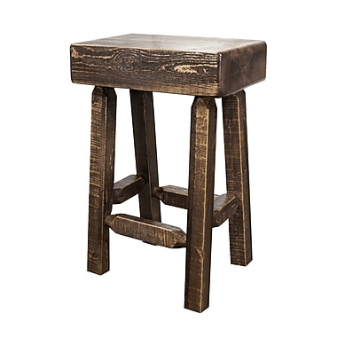 Loon Peak Abella 24'' Square Bar Stool; Stain and Lacquer Finish