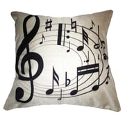 Lillowz Swirling Notes Music 100pct Cotton Throw Pillow