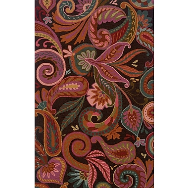Red Barrel Studio Maxson Floral Handmade Red Area Rug; 5' x 8'