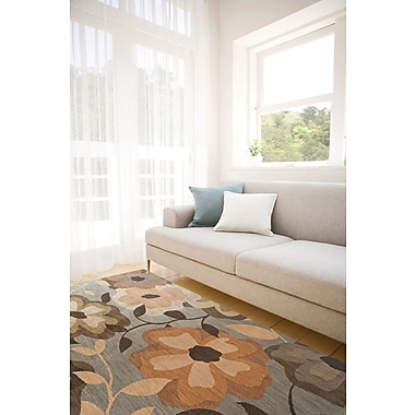 Red Barrel Studio Mathis Floral Blue/Gray Area Rug; 5'3'' x 7'6''
