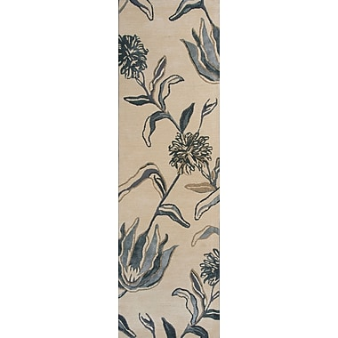 Red Barrel Studio Odile Ivory/Blue Wildflowers Area Rug; 5' x 8'