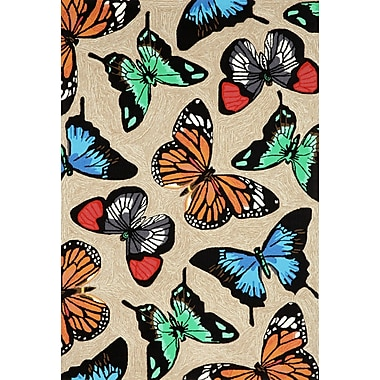 Red Barrel Studio Birchview Butterfly Dance Neutral Indoor/Outdoor Area Rug; 3'6'' x 5'6''