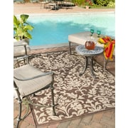 Red Barrel Studio Barhill Chocolate / Natural Outdoor Area Rug; Square 6'7''