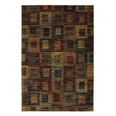 Red Barrel Studio Arpdale Rustic Square Blue/Red Area Rug; 5' x 8'