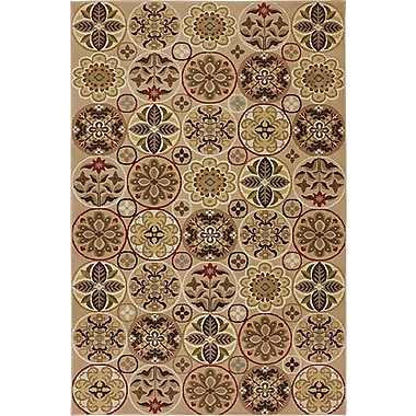 Red Barrel Studio Asherton Floral Quilt Sand/Beige Area Rug; 8' x 10'
