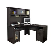 Red Barrel Studio Toledo L-Shaped Executive Desk w/ Hutch; Espresso Oak