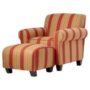 Red Barrel Studio Raven Arm Chair and Ottoman; Cabana Crimson