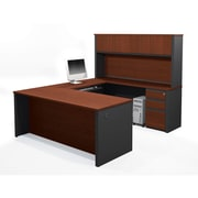 Red Barrel Studio Bormann Executive Desk w/ 3 Drawers and 4 Cabinets; Bordeaux & Graphite