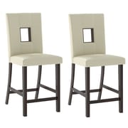 Red Barrel Studio Burgess Counter Height Parsons Chair (Set of 2); White Leatherette