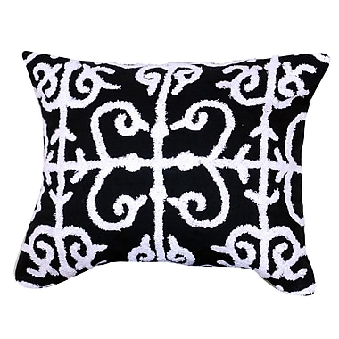 Red Barrel Studio Kennison Embroidered Cotton Lumbar Pillow in Blue; Black