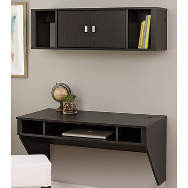 Red Barrel Studio Cothren Floating Desk w/ Hutch; Washed Black