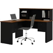 Red Barrel Studio Deweese Corner Executive Desk w/ Hutch; Black and Tuscany Brown