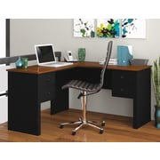 Red Barrel Studio Deweese L-Shape Executive Desk; Black and Tuscany Brown