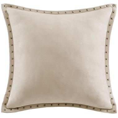 Red Barrel Studio Dixmoor Stud Trim Microsuede Throw Pillow; Tan
