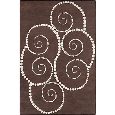 Red Barrel Studio Willow Hand Tufted Wool Brown/Cream Area Rug; 8' x 10'