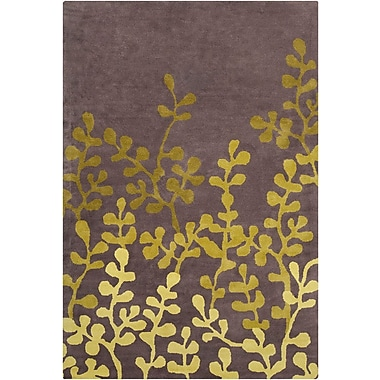 Red Barrel Studio Willow Hand Tufted Wool Brown/Green Area Rug; 5' x 7'6''