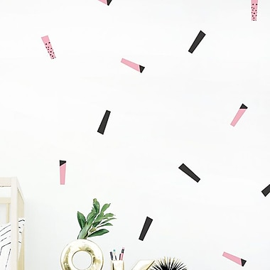 Trendy Peas 51 Piece Streamers Wall Decal Set; Black/Pink