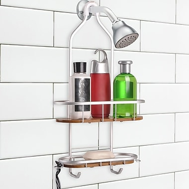 UtopiaAlley Teak 2 Shelf Rustproof Shower Caddy