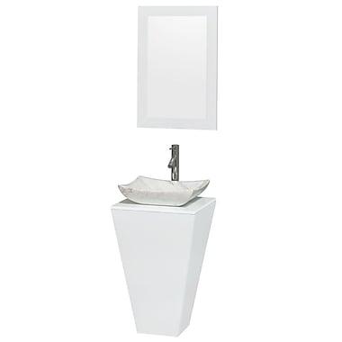 Wyndham Collection Esprit Arista 20.1'' Single Pedestal Bathroom Vanity Set w/ Mirror in White