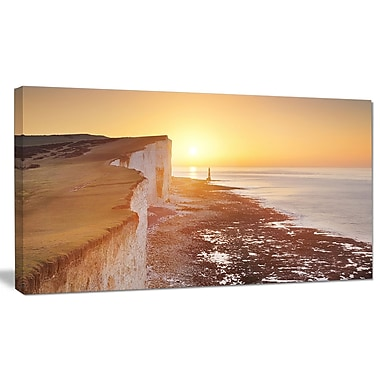 DesignArt 'Sunrise over South Coast of England' Photographic Print on Wrapped Canvas