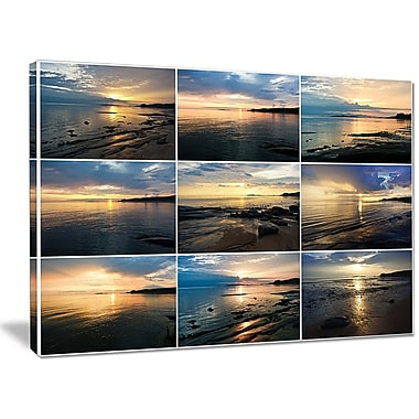 DesignArt 'Sea Sunset Collage' Photographic Print on Wrapped Canvas; 30'' H x 40'' W x 1'' D