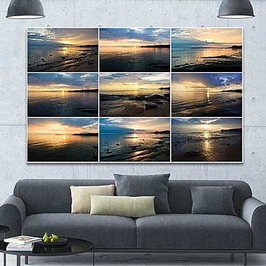 DesignArt 'Sea Sunset Collage' Photographic Print on Wrapped Canvas; 40'' H x 60'' W x 1.5'' D